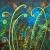 """Peacock garden, 24""""x36"""", acrylic on canvas, ©2015 Donna Grandin. $1400."""