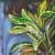 """Croton flowers, 6""""x6"""", acrylic on canvas. ©2016 Donna Grandin. $100."""
