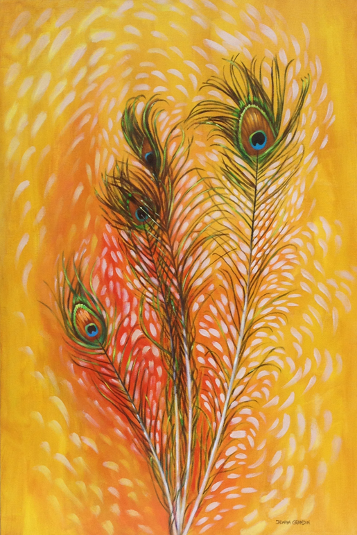"Feather bouquet, 36"" x24"", acrylic on canvas, © 2015 Donna Grandin. $1400."