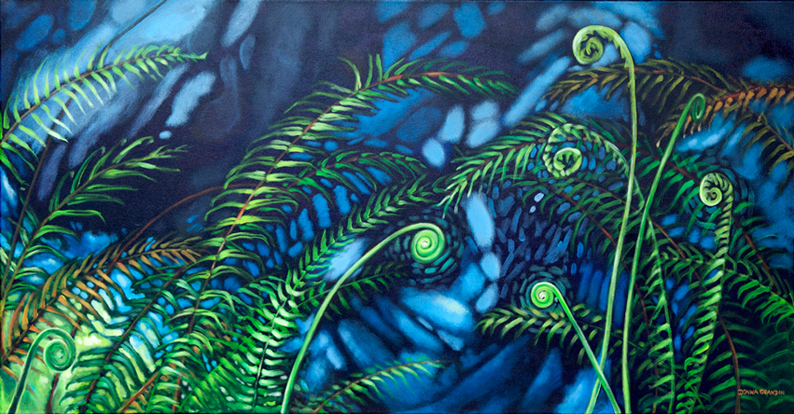 "Fernscape 2, 24""x48"", acrylic on canvas, © 2014 Donna Grandin. $1800."