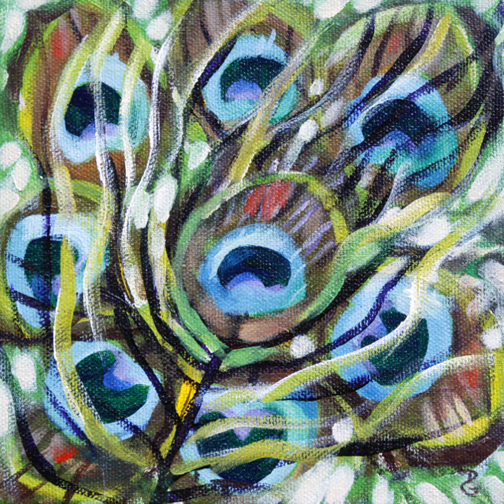 "Peacock feathers 3, 6""x6"", acrylic on canvas, © 2014 Donna Grandin. $100."