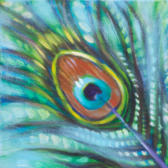 "Peacock feather fantasy (1), 6""x6"" each, acrylic on canvas, © Donna Grandin. $300. for triptych"