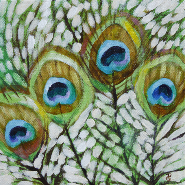"Peacock feathers, 6""x6"", acrylic on canvas, © 2014 Donna Grandin. SOLD"