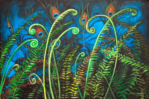 "Peacock garden, 24""x36"", acrylic on canvas, ©2015 Donna Grandin. $1400."