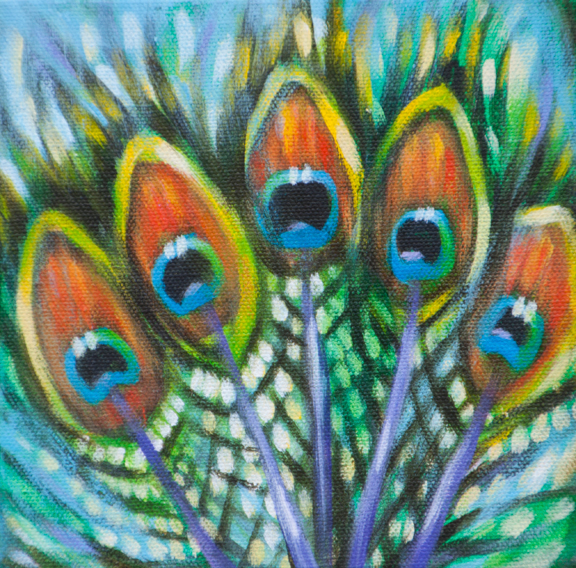 "Peacock feather fantasy (2), 6""x6"" each, acrylic on canvas, © Donna Grandin. $300. for triptych"