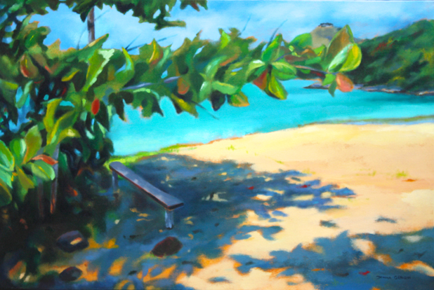 In the shade, 24x36, acrylic on canvas, © Donna Grandin. SOLD