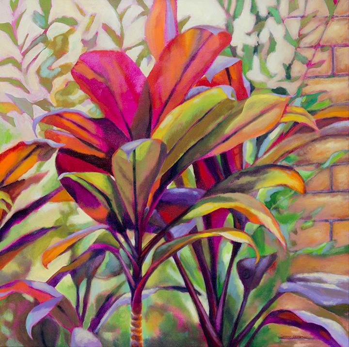 """The hidden library, 36""""x36"""", acrylic on canvas, © Donna Grandin."""