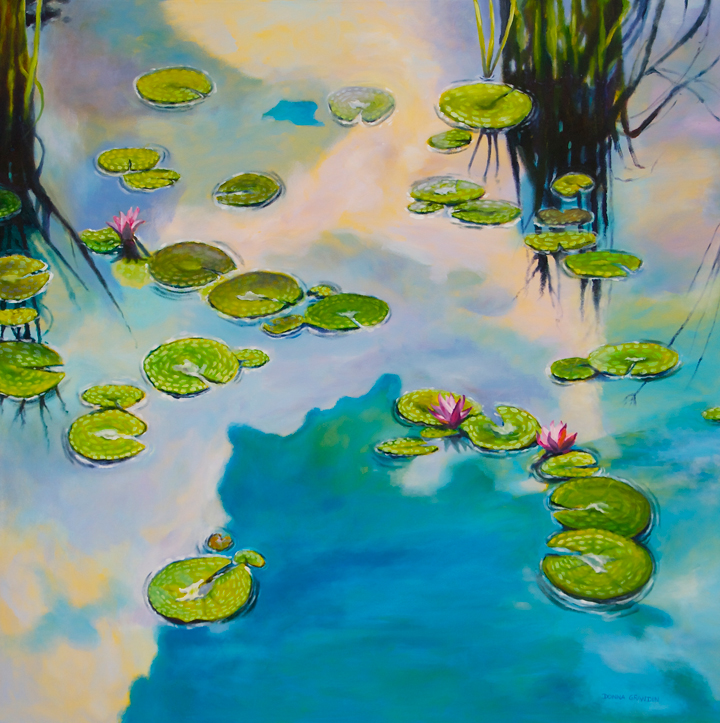 "The thinking place, 48""x48"", acrylic on canvas, © Donna Grandin."