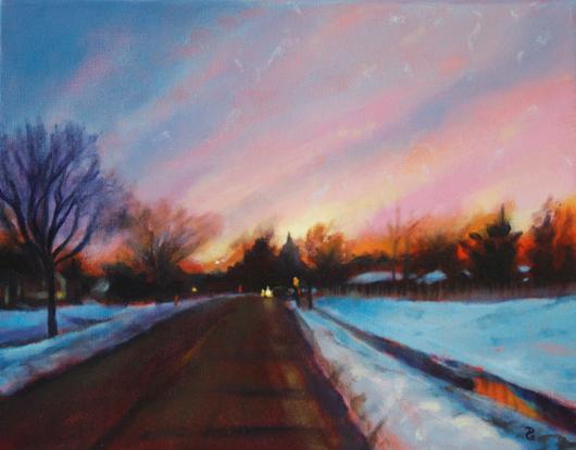"The way home, 11""x14"", acrylic on canvas, © Donna Grandin. Black frame"