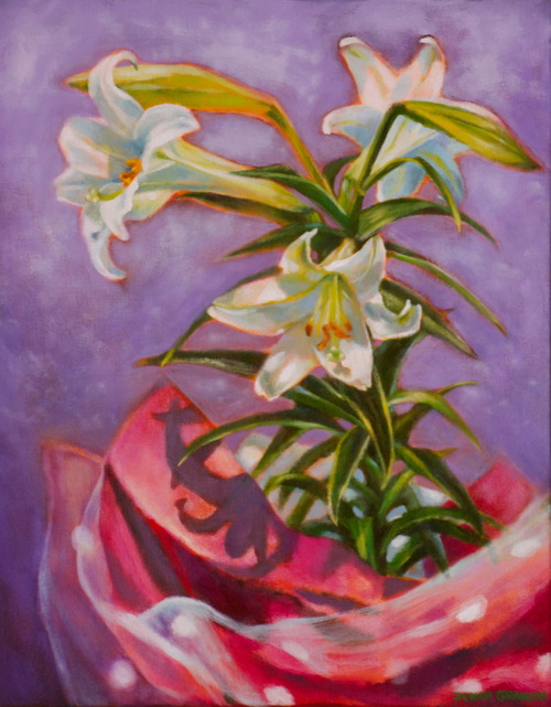 "Easter lilies and polka dots, 20""x16"", acrylic on canvas, © Donna Grandin. $700."