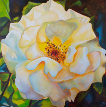"Gemma's rose, 48""x48"", acrylic on canvas, © Donna Grandin. $2400."