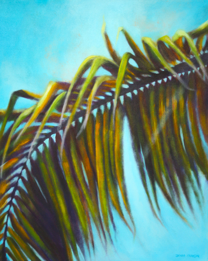 "Hammock time, 24""x30"", acrylic on canvas, © Donna Grandin. $1200."