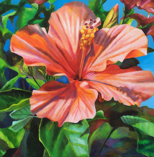 "Hibiscus beauty, 32""x32"", acrylic on canvas, © 2017 Donna Grandin. $1400."