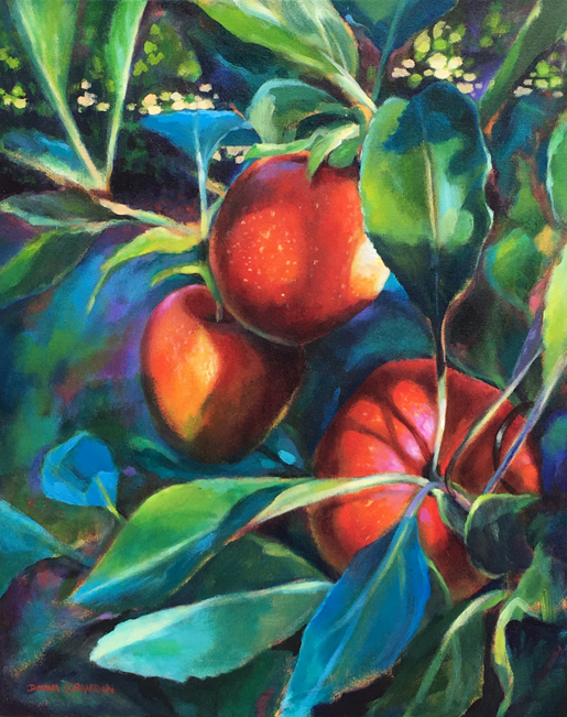 "Ontario apples, 20""x16"", acrylic on canvas, ©2016 Donna Grandin. $700."