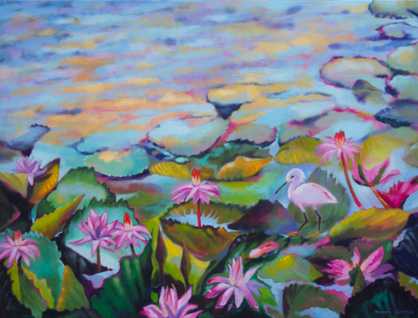 "Pond Life, 30""x40"", acrylic on canvas, © Donna Grandin. $1800. Free shipping from St. Lucia, in a mailing tube, until further notice."