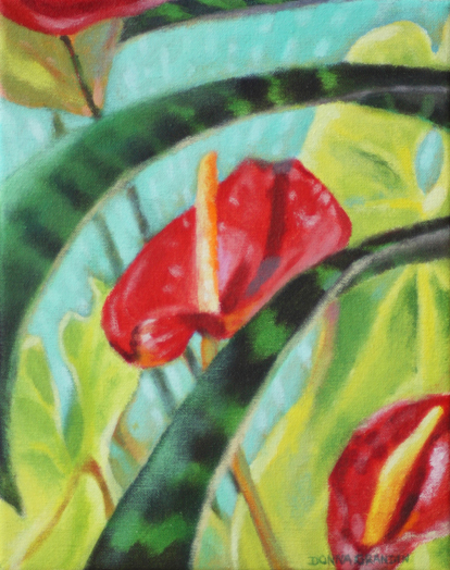 "Sunny anthuriums, 10""x8"", acrylic on canvas, © Donna Grandin. $275. (black frame)"