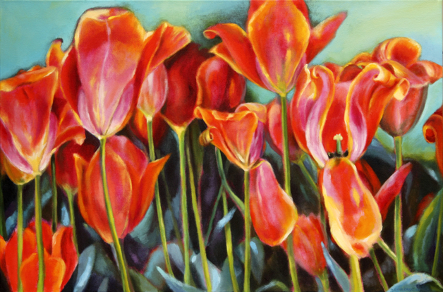 "Tulip mound, 24""x36"", acrylic on canvas, © Donna Grandin. $1200."