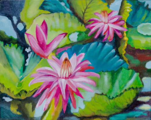 "Water lily drama, 16""x20"", acrylic on canvas, © Donna Grandin. $700."